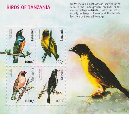 Birds of Tanzania - Weavers Stamp Set