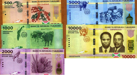 500, 1000, 2000, 5000 and 10,000 Francs  UNC 5 Banknote Set