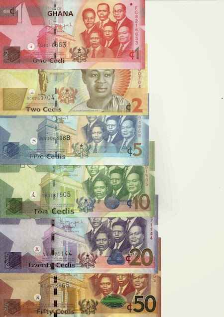 1, 2, 5, 10, 20, and 50 Cedi  UNC 6 Banknote Set