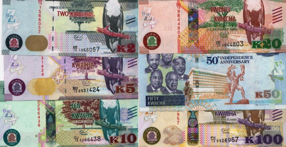 2, 5, 10, 20, 50 and 100 Kwacha  UNC 6 Banknote Set